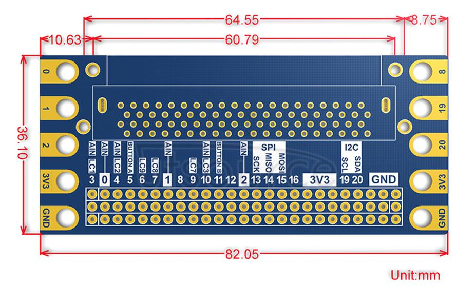 Edge Breakout for micro:bit, I/O Expansion