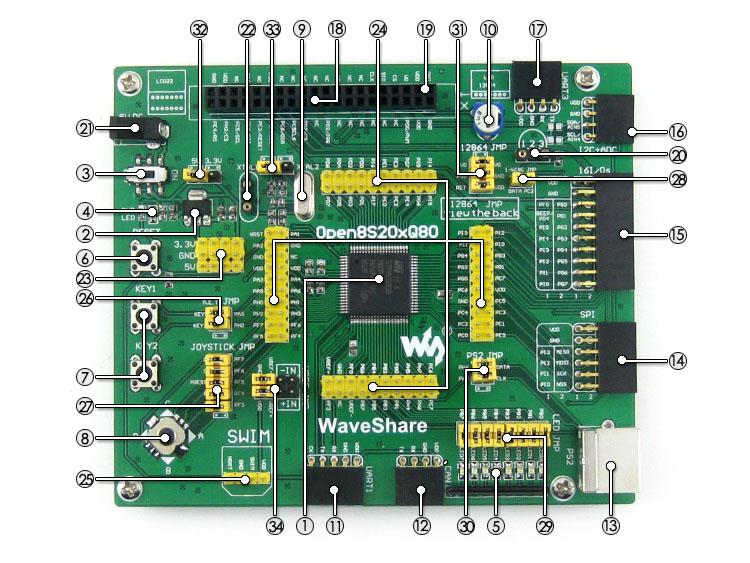STM8S208MB development board on board resource